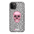 LeighDeux Phone Cases- Skull Tanzania Nero/Hot Pink Phone Case LeighDeux, LLC iPhone 11 Pro Max Premium Glossy Tough Case