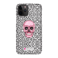 LeighDeux Phone Cases- Skull Tanzania Nero/Hot Pink Phone Case LeighDeux, LLC iPhone 11 Pro Premium Glossy Snap Case
