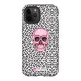 LeighDeux Phone Cases- Skull Tanzania Nero/Hot Pink Phone Case LeighDeux, LLC iPhone 11 Pro Premium Glossy Tough Case