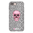 LeighDeux Phone Cases- Skull Tanzania Nero/Hot Pink Phone Case LeighDeux, LLC iPhone 8 Plus Premium Glossy Tough Case
