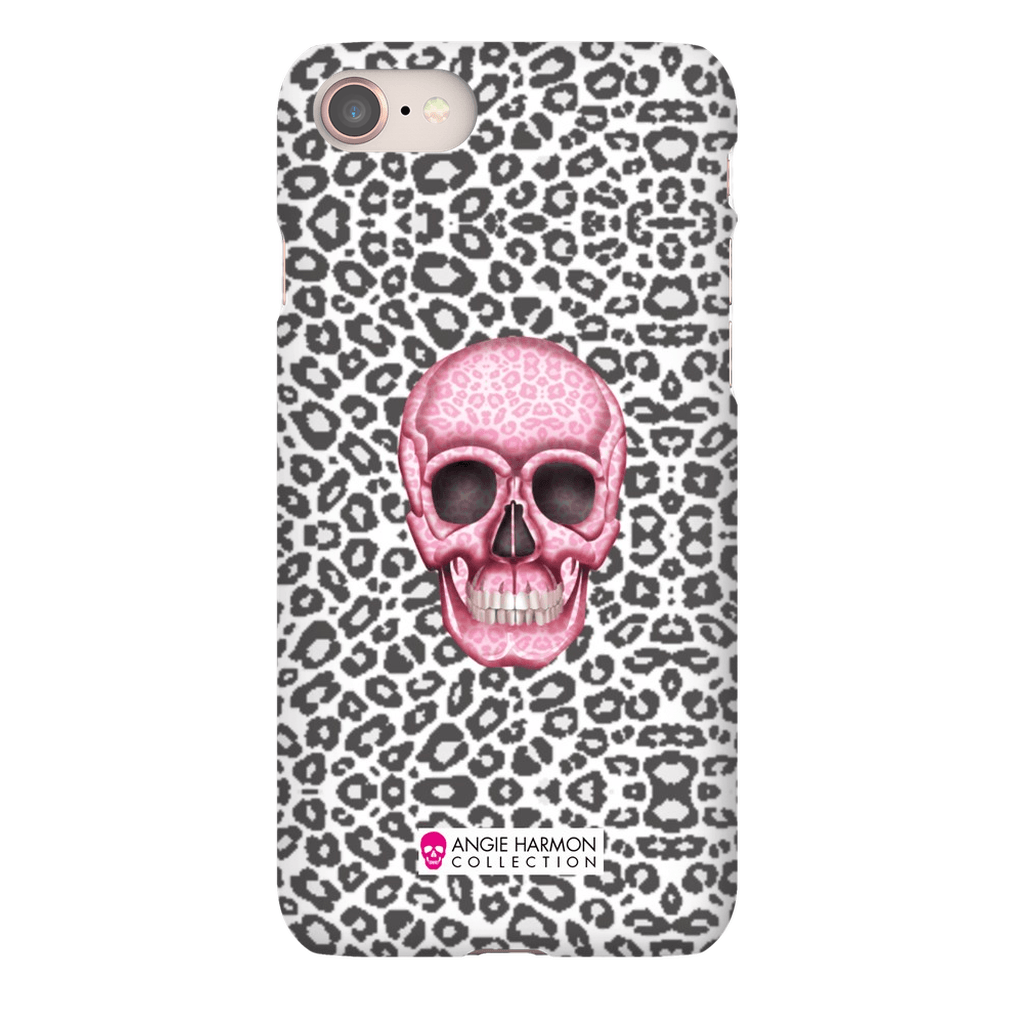 LeighDeux Phone Cases- Skull Tanzania Nero/Hot Pink Phone Case LeighDeux, LLC iPhone 8 Premium Glossy Snap Case