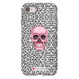 LeighDeux Phone Cases- Skull Tanzania Nero/Hot Pink Phone Case LeighDeux, LLC iPhone 8 Premium Glossy Tough Case