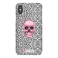 LeighDeux Phone Cases- Skull Tanzania Nero/Hot Pink Phone Case LeighDeux, LLC iPhone X Premium Glossy Snap Case