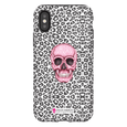 LeighDeux Phone Cases- Skull Tanzania Nero/Hot Pink Phone Case LeighDeux, LLC iPhone X Premium Glossy Tough Case