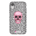 LeighDeux Phone Cases- Skull Tanzania Nero/Hot Pink Phone Case LeighDeux, LLC iPhone XR Premium Glossy Tough Case