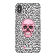 LeighDeux Phone Cases- Skull Tanzania Nero/Hot Pink Phone Case LeighDeux, LLC iPhone XS Max Premium Glossy Snap Case