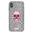 LeighDeux Phone Cases- Skull Tanzania Nero/Hot Pink Phone Case LeighDeux, LLC iPhone XS Max Premium Glossy Tough Case