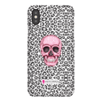 LeighDeux Phone Cases- Skull Tanzania Nero/Hot Pink Phone Case LeighDeux, LLC iPhone XS Premium Glossy Snap Case