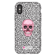 LeighDeux Phone Cases- Skull Tanzania Nero/Hot Pink Phone Case LeighDeux, LLC iPhone XS Premium Glossy Tough Case