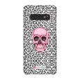 LeighDeux Phone Cases- Skull Tanzania Nero/Hot Pink Phone Case LeighDeux, LLC Samsung Galaxy S10 Plus Premium Glossy Snap Case
