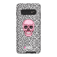 LeighDeux Phone Cases- Skull Tanzania Nero/Hot Pink Phone Case LeighDeux, LLC Samsung Galaxy S10 Plus Premium Glossy Tough Case