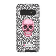 LeighDeux Phone Cases- Skull Tanzania Nero/Hot Pink Phone Case LeighDeux, LLC Samsung Galaxy S10 Premium Glossy Tough Case