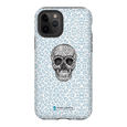 LeighDeux Phone Cases- Skull Tanzania Nero/Peacock Phone Case LeighDeux, LLC iPhone 11 Pro Premium Glossy Tough Case