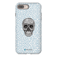 LeighDeux Phone Cases- Skull Tanzania Nero/Peacock Phone Case LeighDeux, LLC iPhone 8 Plus Premium Glossy Tough Case