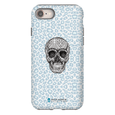 LeighDeux Phone Cases- Skull Tanzania Nero/Peacock Phone Case LeighDeux, LLC iPhone 8 Premium Glossy Tough Case