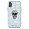 LeighDeux Phone Cases- Skull Tanzania Nero/Peacock Phone Case LeighDeux, LLC iPhone X Premium Glossy Tough Case