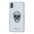 LeighDeux Phone Cases- Skull Tanzania Nero/Peacock Phone Case LeighDeux, LLC iPhone XS Max Premium Glossy Snap Case