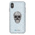 LeighDeux Phone Cases- Skull Tanzania Nero/Peacock Phone Case LeighDeux, LLC iPhone XS Max Premium Glossy Tough Case