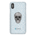 LeighDeux Phone Cases- Skull Tanzania Nero/Peacock Phone Case LeighDeux, LLC iPhone XS Premium Glossy Snap Case