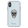 LeighDeux Phone Cases- Skull Tanzania Nero/Peacock Phone Case LeighDeux, LLC iPhone XS Premium Glossy Tough Case