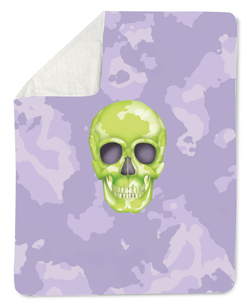 Lovleigh Blanket - Skull Camo Lime Green/Lavender throw LeighDeux, LLC