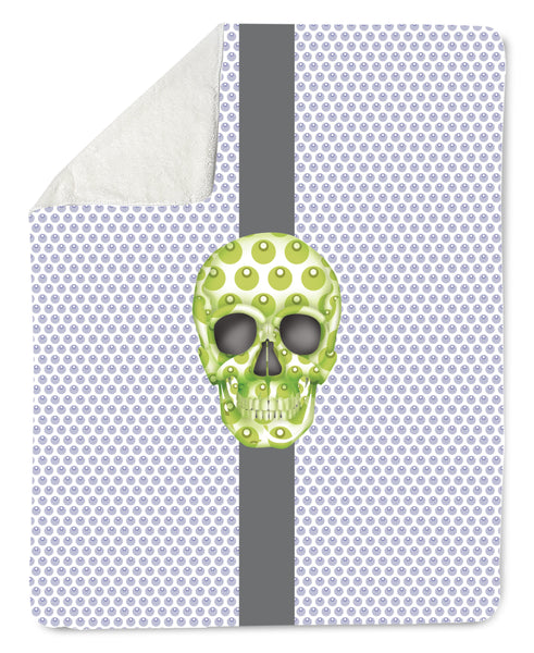 Lovleigh Blanket - Skull Luna Stripe Lavender/Lime throw LeighDeux, LLC