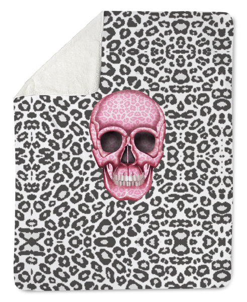 Lovleigh Blanket - Skull Tanzania Nero/Hot Pink throw LeighDeux, LLC