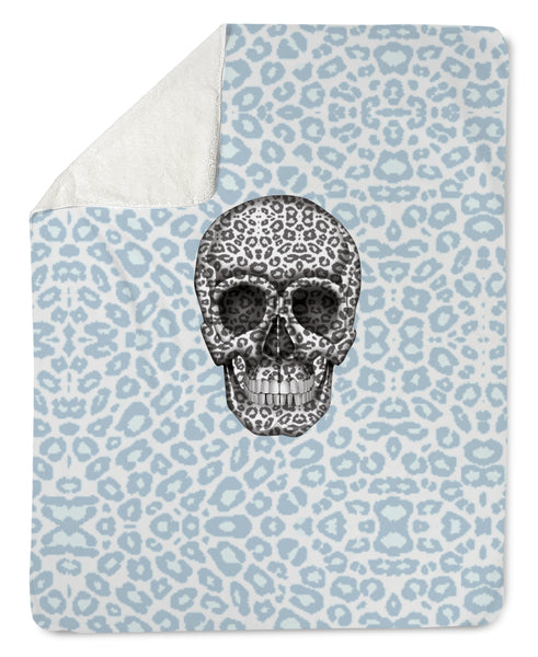 Lovleigh Blanket - Skull Tanzania Nero/Peacock throw LeighDeux, LLC