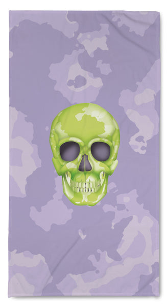 Quick Dry Resort Towel - Skull Camo Lime/Lavender throw LeighDeux, LLC