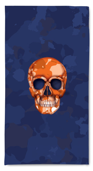Quick Dry Resort Towel - Skull Camo Navy/Orange throw LeighDeux, LLC