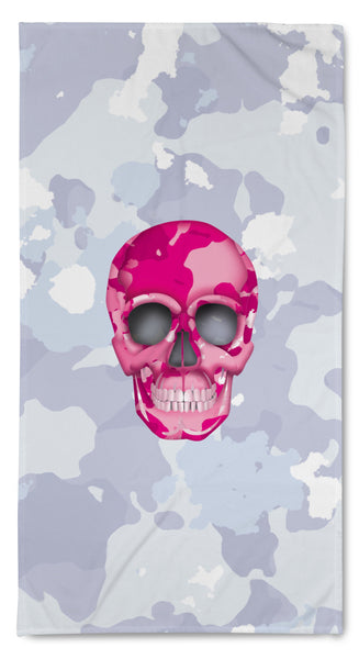 Quick Dry Resort Towel - Skull Camo Nero/Pink throw LeighDeux, LLC