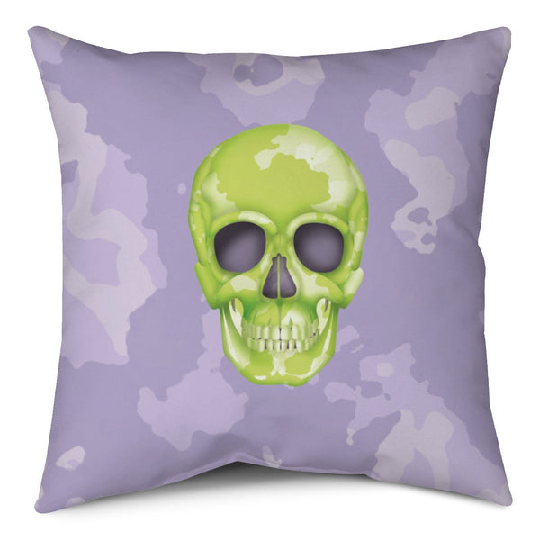 Throw Pillow - Skull Camo Lime Green/Lavender throw LeighDeux, LLC
