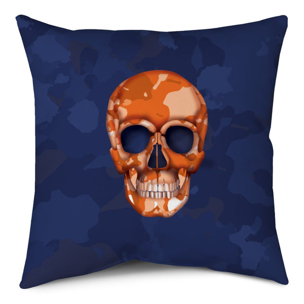 Throw Pillow - Skull Camo Navy/Orange throw LeighDeux, LLC