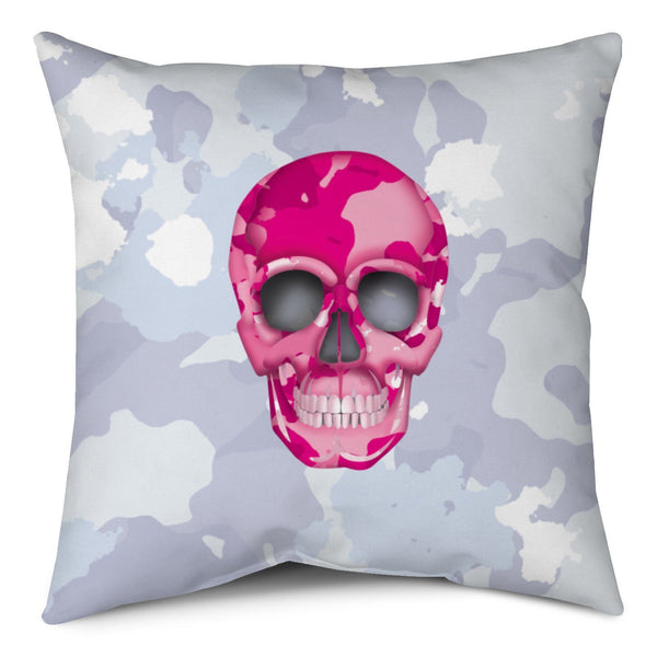 Throw Pillow - Skull Camo Nero/Pink throw LeighDeux, LLC