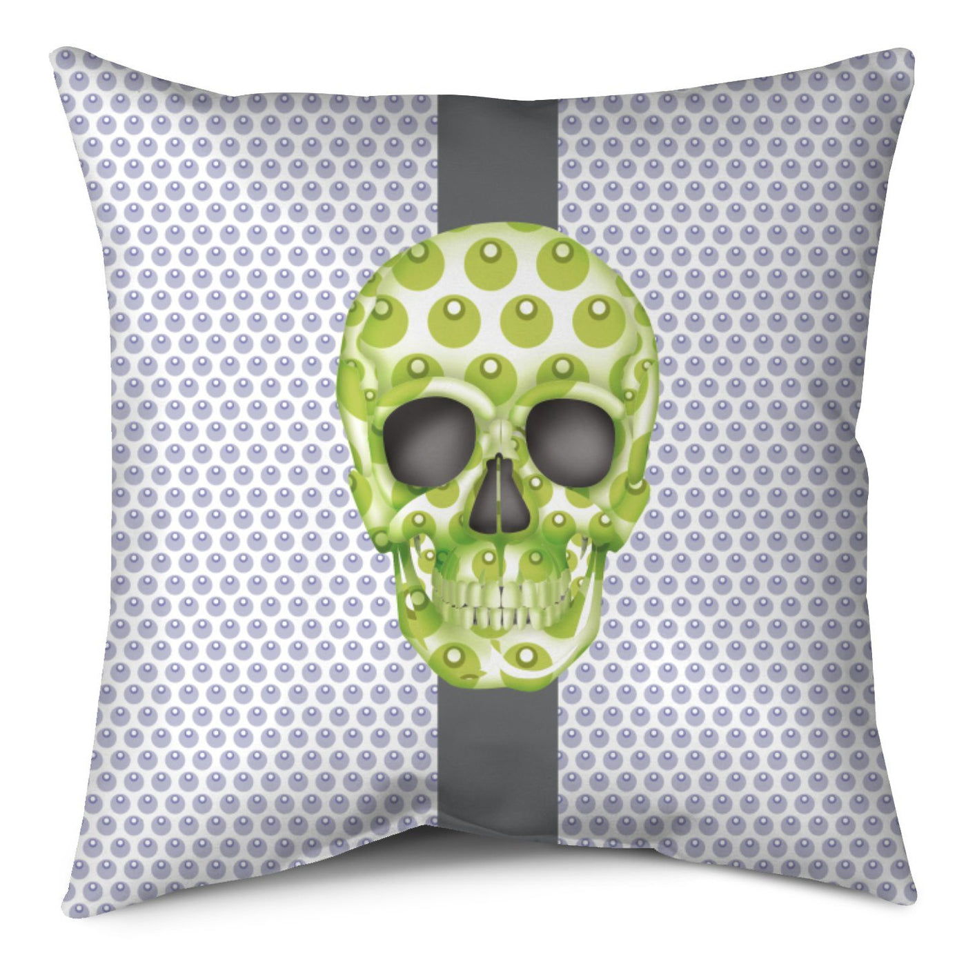 Throw Pillow - Skull Luna Stripe Lavender/Lime throw LeighDeux, LLC