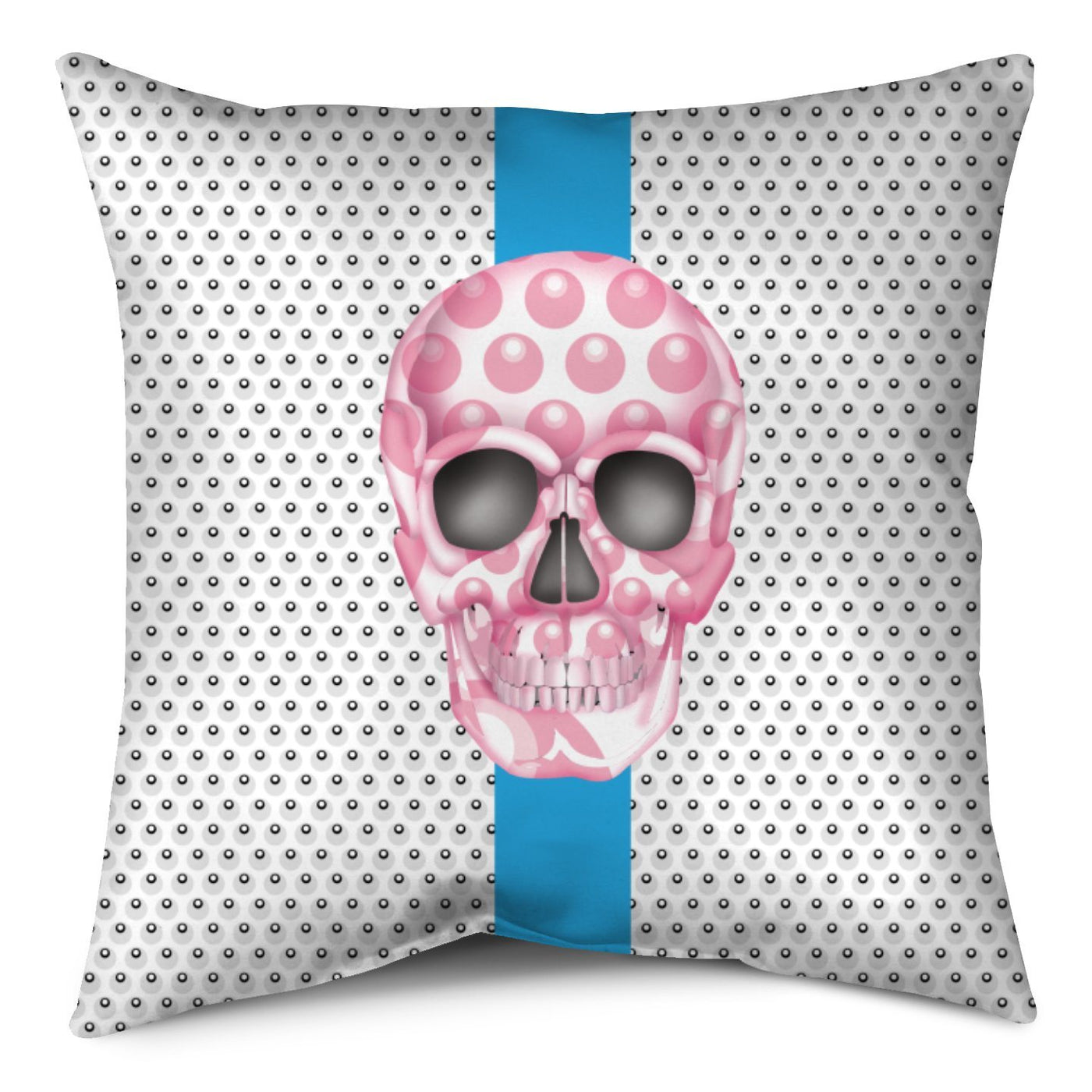 Throw Pillow - Skull Luna Stripe Nero/Pink throw LeighDeux, LLC