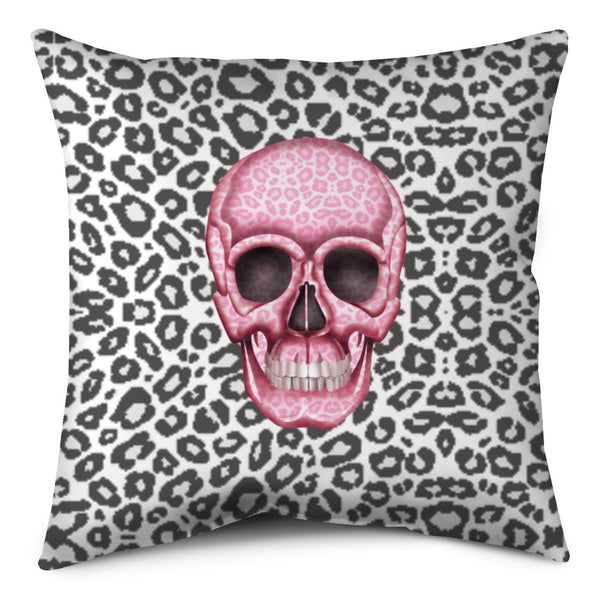 Throw Pillow - Skull Tanzania Nero/Hot pink throw LeighDeux, LLC