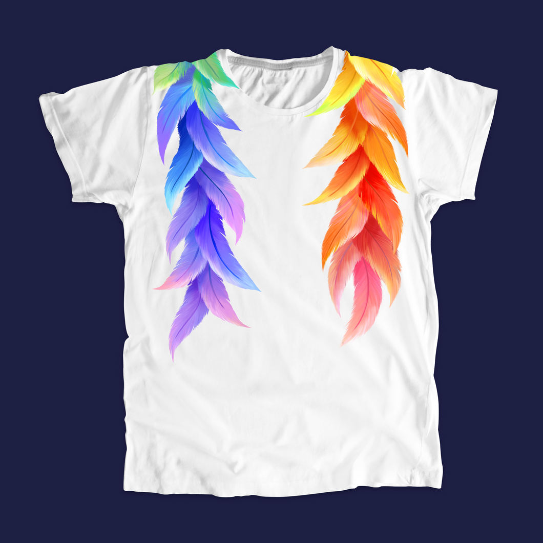 White unisex t-shirt with rainbow colored print around the collar.  (4201886089325)