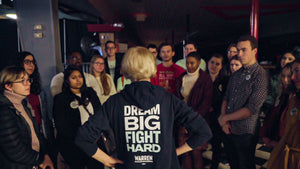 Elizabeth Warren wearing the Dream Big Fight Hard Hoodie while talking to group of voters in West Des Moines Iowa. (1506799779949)