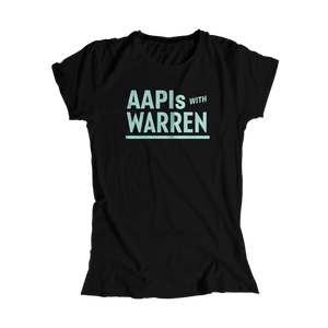AAPIs with Warren Black Fitted T-shirt with Liberty Green type. (4455157727341)