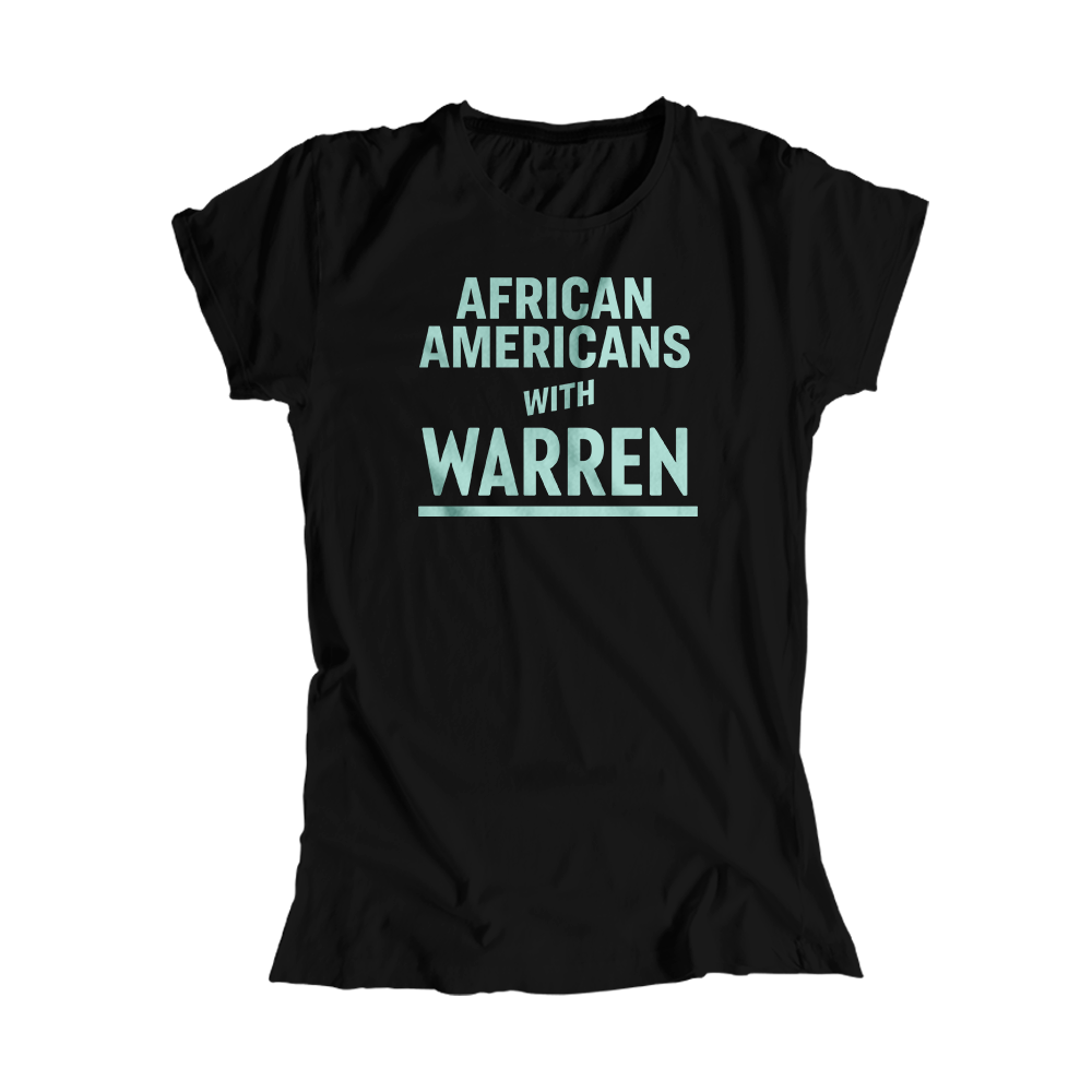 African Americans with Warren Black Fitted T-shirt with Liberty Green type. (4455161299053)