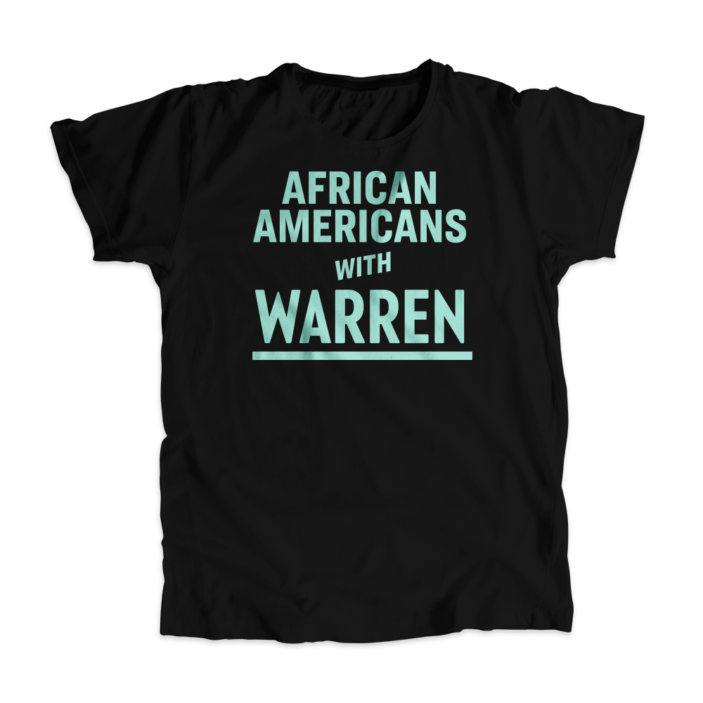 African Americans with Warren Black Unisex T-shirt with Liberty Green type. (4455134330989)