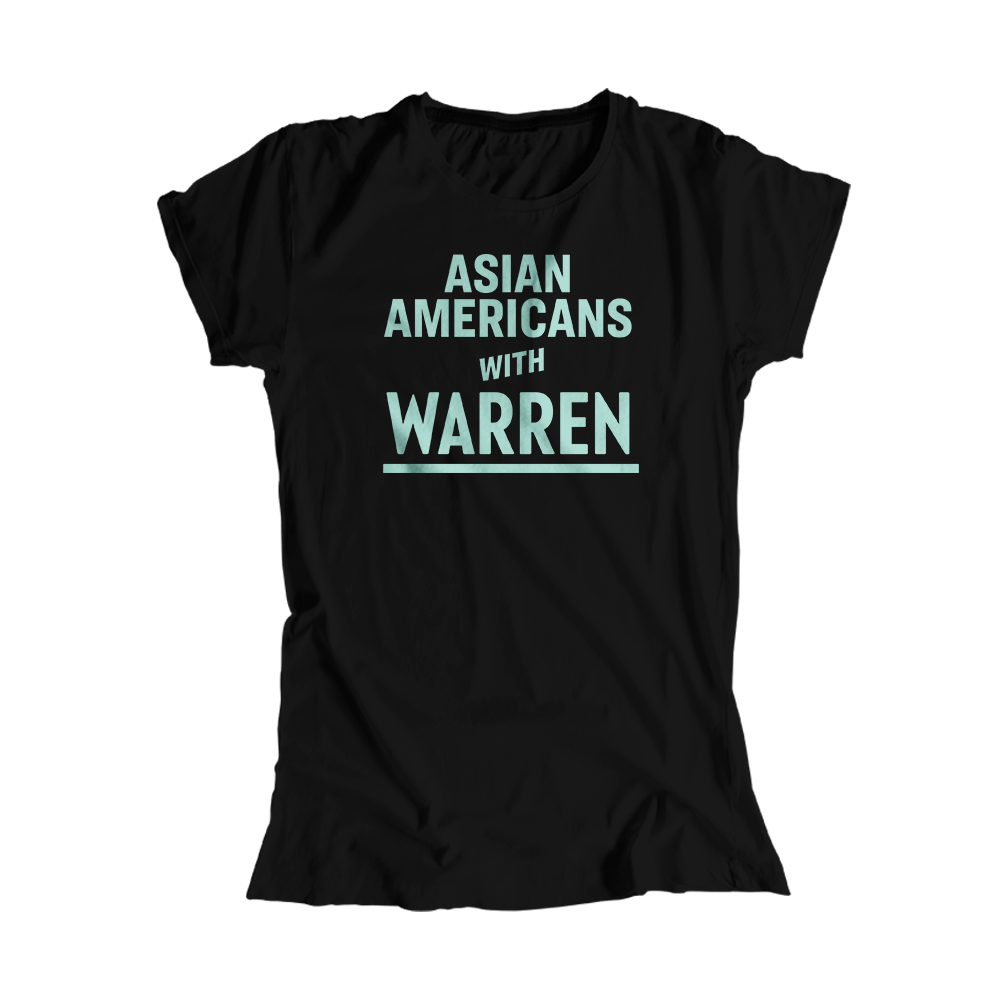 Asian Americans with Warren Black Fitted T-Shirts with Liberty Green type. (4465469685869)