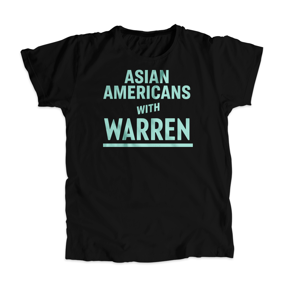 Asian Americans with Warren Black T-Shirt with Liberty Green type. (4465468506221)