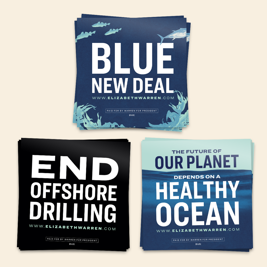 Blue New Deal Sticker 3-Pack. Featuring the phrases: Blue New Deal, End Offshore Drilling, and The Future of Our Planet Depends on a Healthy Ocean.