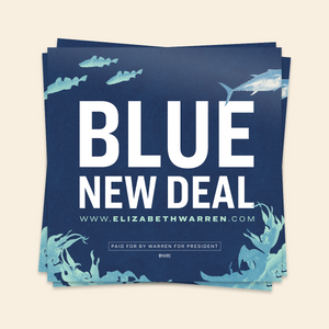 Blue New Deal Sticker featuring an underwater scene with seaweed and fish.