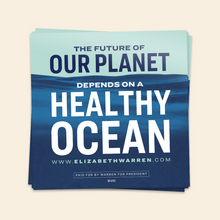 Load image into Gallery viewer, The Future of Our Planet Depends on a Healthy Ocean Sticker in navy, white and liberty green.