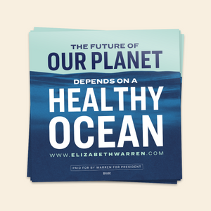 The Future of Our Planet Depends on a Healthy Ocean Sticker in navy, white and liberty green.