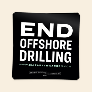 End Offshore Drilling Sticker in black and white.