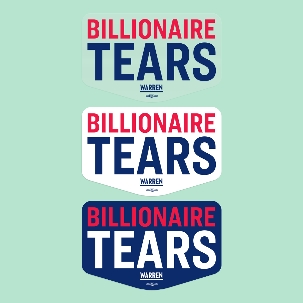 Billionaire Tears Vinyl Die Cut Sticker Three Pack in three color options: Clear, White and Navy.